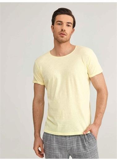 Xint XINT Bisiklet Yaka Modal Slim Fit Basic Tişört Sarı